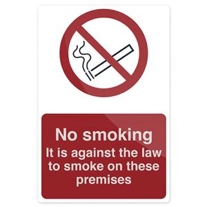 Fixman No Smoking - Against The Law Sign 200 x 300mm Rigid
