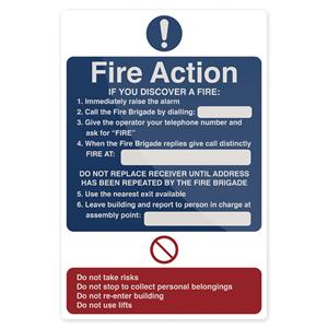 Fixman Fire Action If You Discover Sign 200 x 300mm Self Adhesive